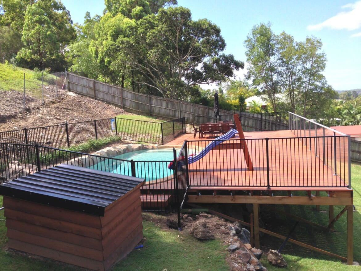 Waterside Pool Fencing - Safety Aluminum Fencing on Deck Pool